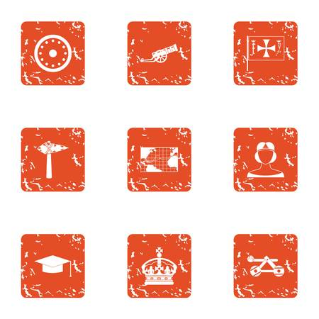 Chivalric orden icons set, grunge style