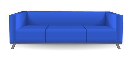 Classic modern blue sofa mockup, realistic style