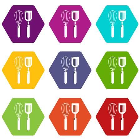 Cutlery bake icons set 9 vector