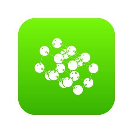 Triple molecule icon green vector Illustration