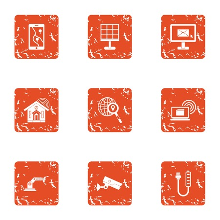 Tech email icons set. Grunge set of 9 tech email vector icons for web isolated on white background Çizim