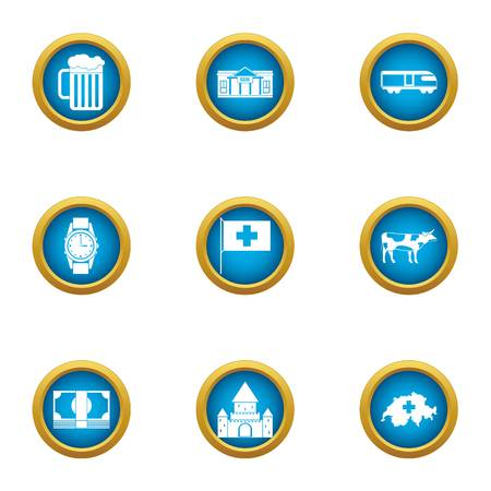 Country of europe icons set. Flat set of 9 country of europe vector icons for web isolated on white background