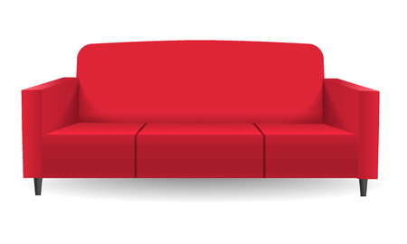 Red sofa mockup. Realistic illustration of red sofa vector mockup for web design isolated on white background
