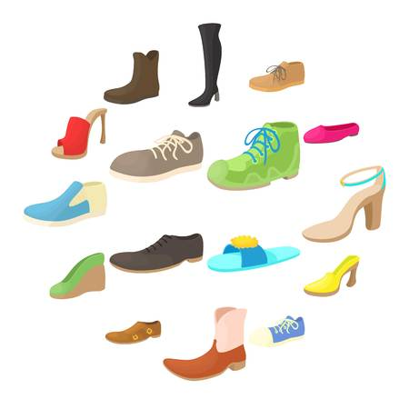 Shoes icons set in cartoon style. Footwear set isolated on white background