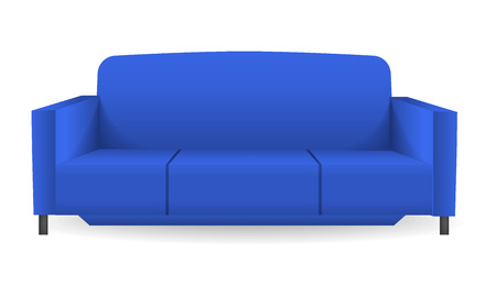 Blue modern sofa mockup. Realistic illustration of blue modern sofa vector mockup for web design isolated on white background Illustration