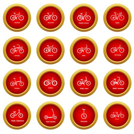 Bicycle types icons set. Simple illustration of 16 bicycle types vector icons for web Illustration