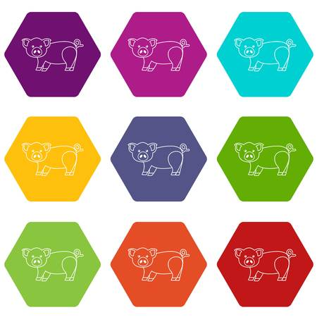 Cute pig icons 9 set coloful isolated on white for web