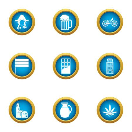 Quiet place icons set. Flat set of 9 quiet place vector icons for web isolated on white background