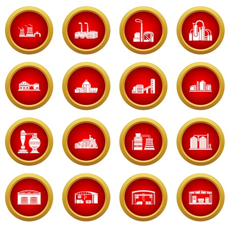Factory icons set. Simple illustration of 16 tennis icons set vector icons for web Banque d'images - 101874271
