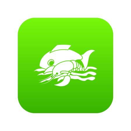 Sea food icon green vector Illustration