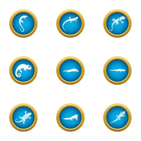 World of lizard icons set. Flat set of 9 world of lizard vector icons for web isolated on white background Illustration