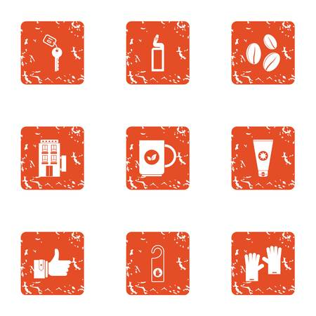 Guesthouse industry icons set. Grunge set of 9 guesthouse industry vector icons for web isolated on white background  イラスト・ベクター素材