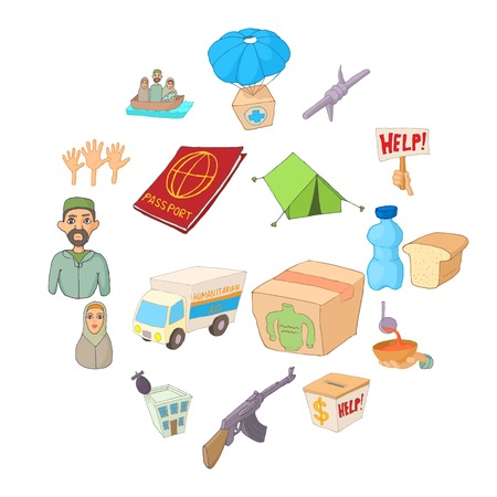 Refugees icons set, cartoon style