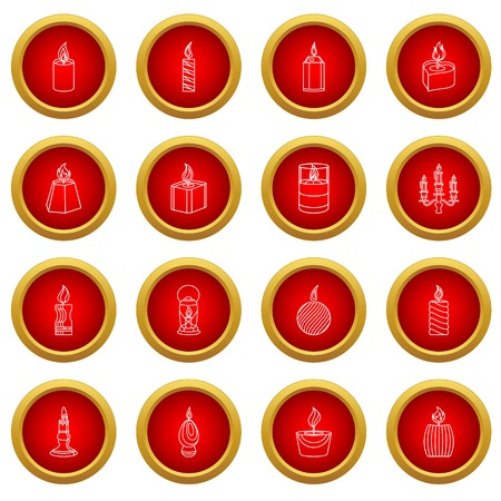 Candle forms icons set flame light. Outline illustration of 16 candle forms flame light vector icons for web