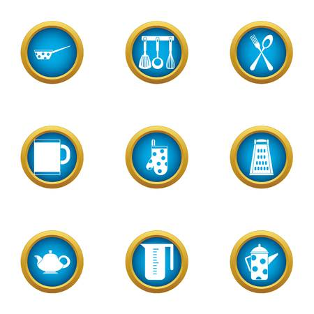 Tea breakfast icons set. Flat set of 9 tea breakfast vector icons for web isolated on white background