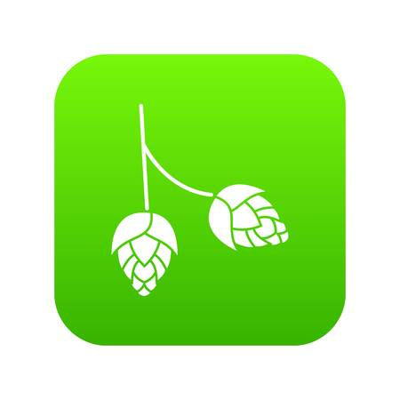 Branch of hops icon digital green