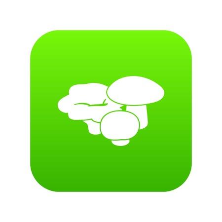 Mushrooms icon green vector