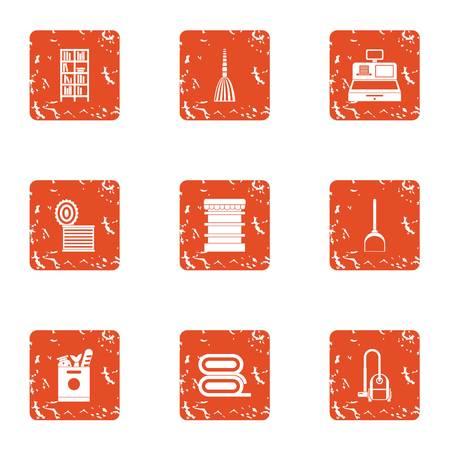 Boardinghouse icons set, grunge style
