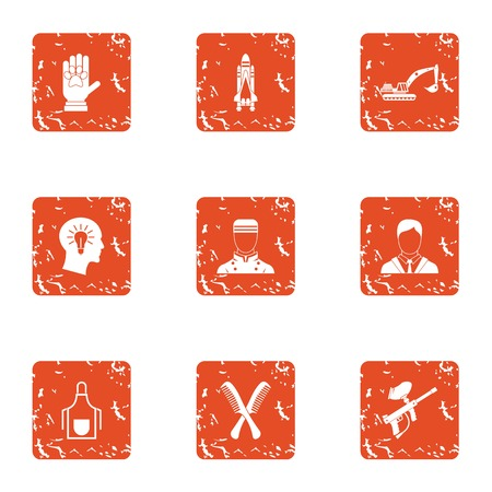 Technical training icons set, grunge style Illustration