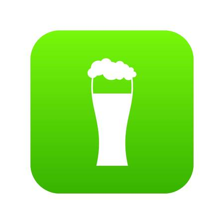 Glass of beer icon digital green
