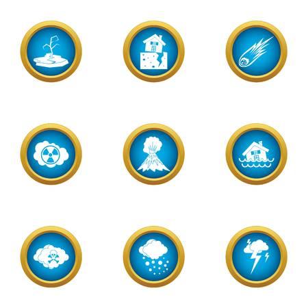 Weather trouble icons set, flat style Stock Illustratie