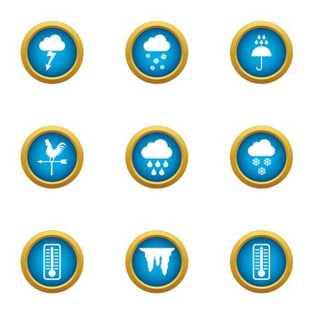 Weather observation icons set, flat style