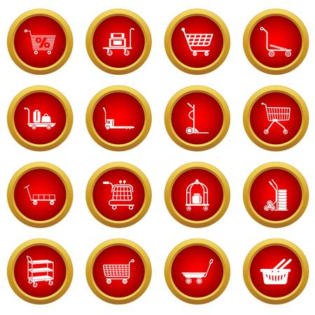 Cart types icons set, simple style