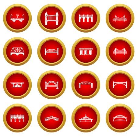 Jeu d'icônes de pont, style simple Vecteurs