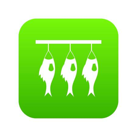 Three dried fish hanging on a rope icon digital green