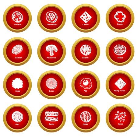 Slice food icons set, simple style Illustration