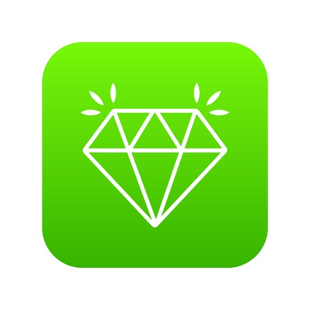 Mine diamond icon green vector