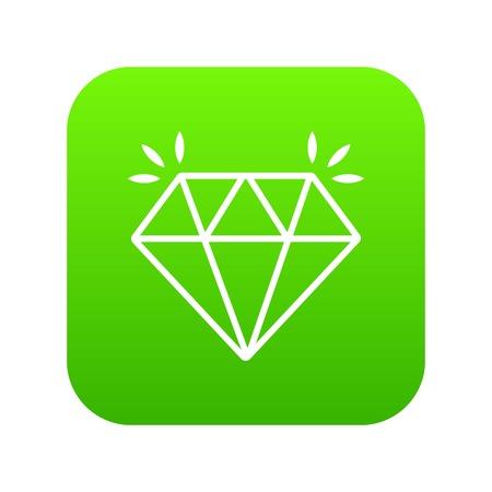 Mine diamond icon green vector