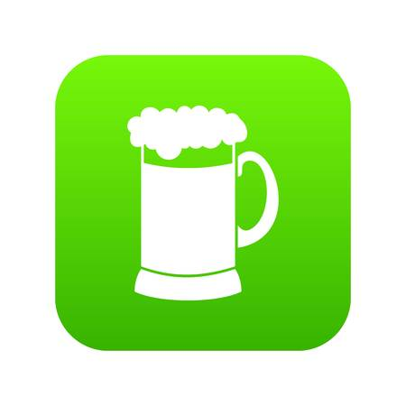 Mug of dark beer icon digital green