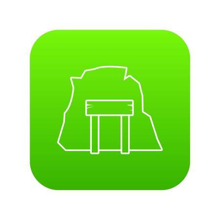 Mine enter icon green vector