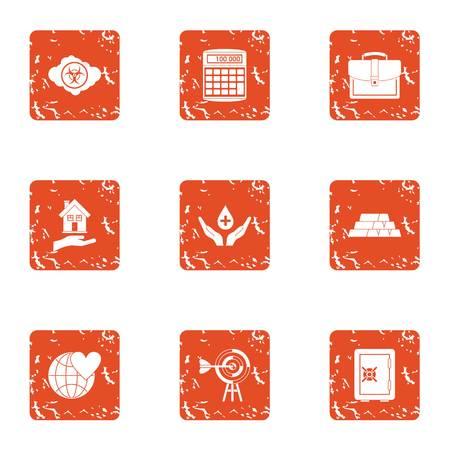 Terra icons set, grunge style