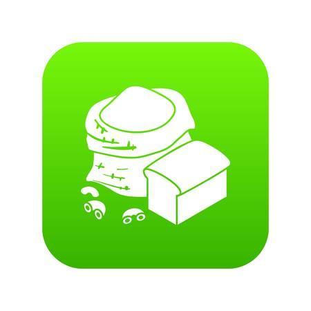 Flour production icon green vector