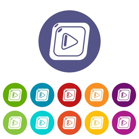 Video icons set vector color