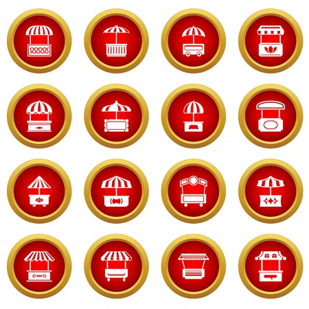 Street food kiosk icons set, simple style