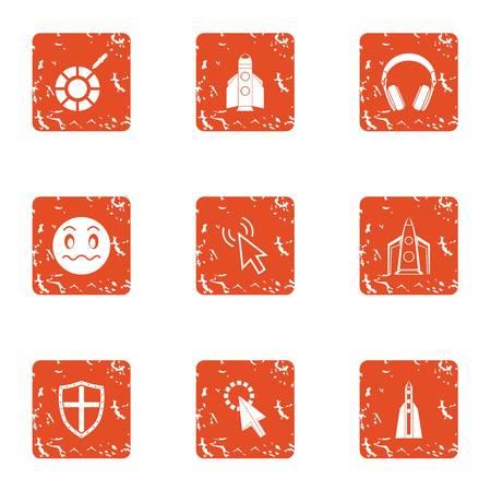 Rocket child icons set, grunge style