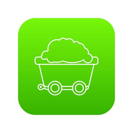 Mining cart icon green vector