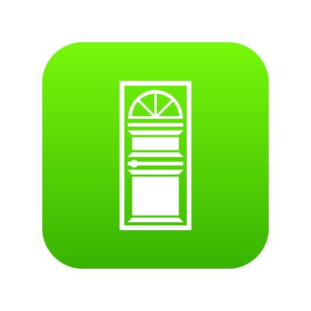 Door with an arched glass icon digital green