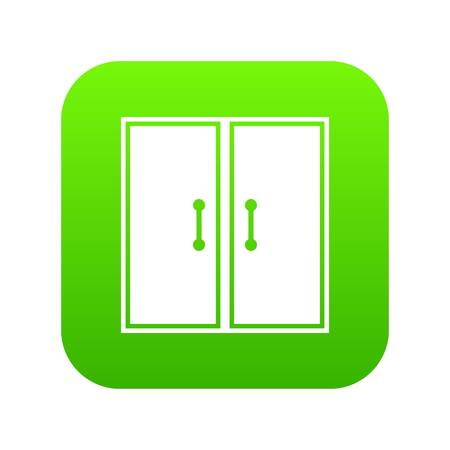 Two glass doors icon digital green