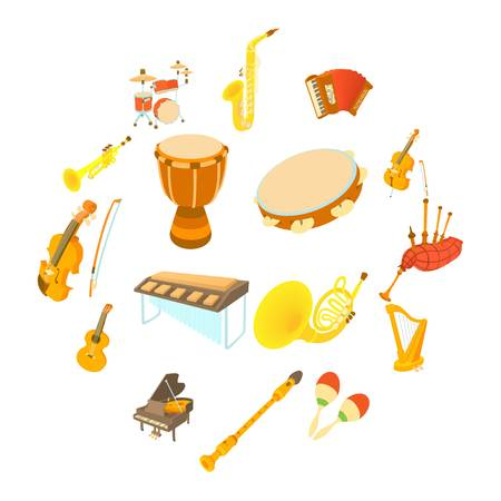 Musical instruments icons set, cartoon style Stock Illustratie