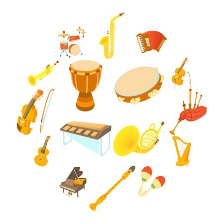 Musical instruments icons set, cartoon style Illustration