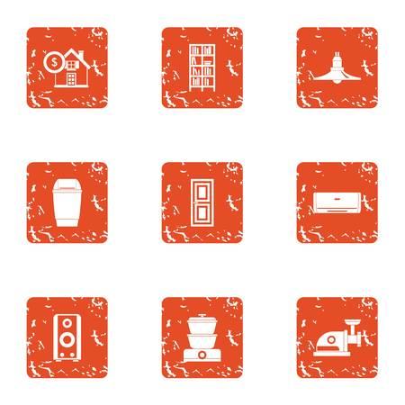 Cash building icons set, grunge style