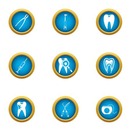 Problem tooth icons set, flat style