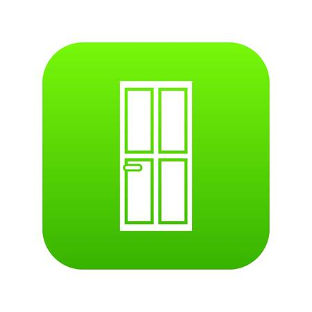 Closed wooden door icon digital green