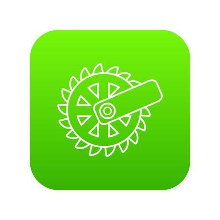 Mining cutting wheel icon green vector Ilustração