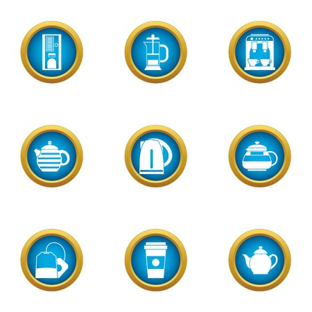 Brewing teapot icons set, flat style