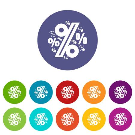 Percentage icons set vector color